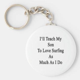 Enseñaré a mi hijo a amar el practicar surf tanto llavero personalizado
