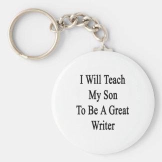 Enseñaré a mi hijo a ser gran escritor llavero personalizado