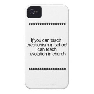 Enseñe a la evolución en iglesia iPhone 4 Case-Mate protectores