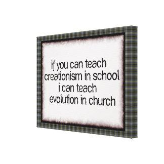 Enseñe a la evolución en iglesia lona envuelta para galerías