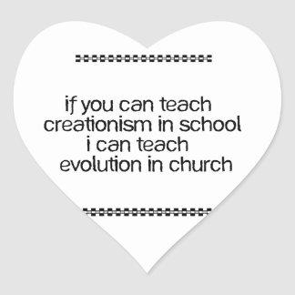 Enseñe a la evolución en iglesia calcomanías de corazones personalizadas