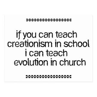 Enseñe a la evolución en iglesia tarjeta postal