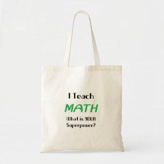 Enseñe a la matemáticas bolsa tela barata