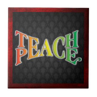 Enseñe a la paz azulejo cuadrado pequeño
