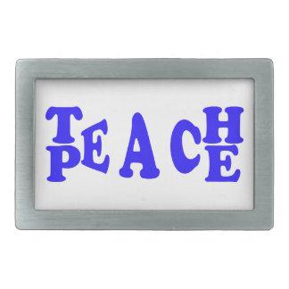 Enseñe a la paz en hebilla del cinturón azul de la hebillas de cinturon rectangulares