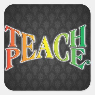 Enseñe a la paz calcomanías cuadradass personalizadas