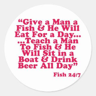 Enseñe a un hombre a pescar etiqueta