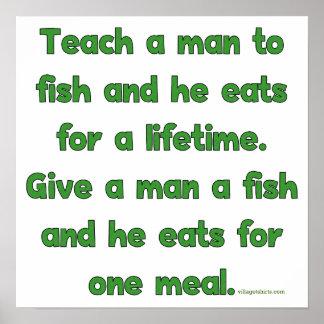Enseñe a un hombre a pescar póster
