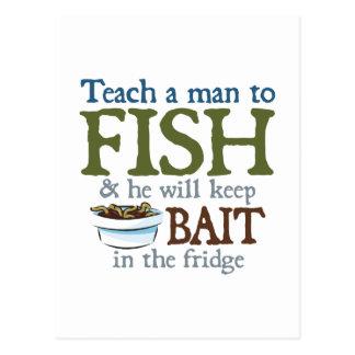 Enseñe a un hombre a pescar tarjeta postal