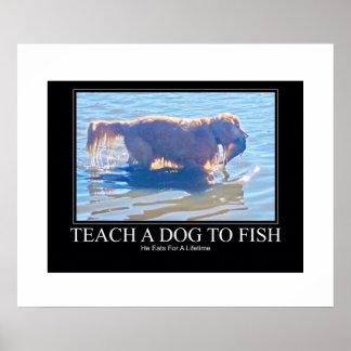Enseñe a un perro a pescar póster