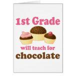 Enseñe al 1r grado para el chocolate tarjeta