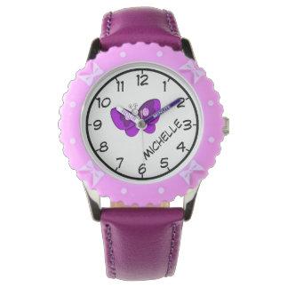 Enseñe para decir tiempo, la cinta púrpura de la relojes de mano