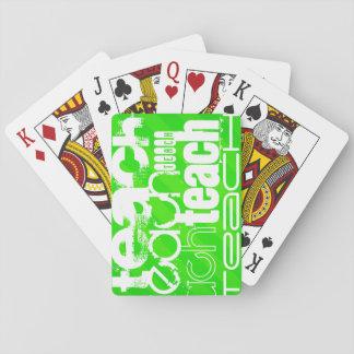 Enseñe; Rayas verdes de neón Cartas De Juego
