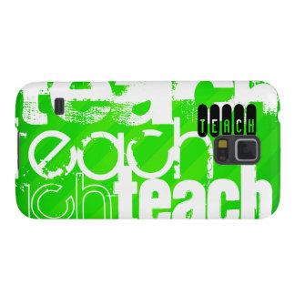 Enseñe; Rayas verdes de neón Fundas De Galaxy S5