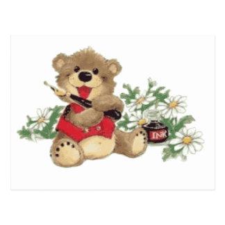 Enséñeme a escribir el oso trasnparent postales