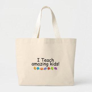 Enseño a los niños asombrosos (el rompecabezas) bolsa tela grande