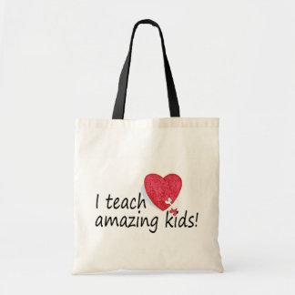Enseño a niños asombrosos bolsas lienzo