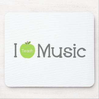 Enseño música a Apple verde Tapetes De Ratón