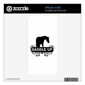 Ensille para arriba con la silueta del caballo skins para eliPhone 4