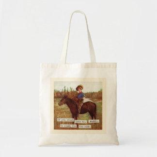 Ensille para arriba el tote del arte de la vaquera bolsa tela barata
