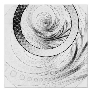 Enso, a Perfect Black and White Zen Fractal Circle Poster