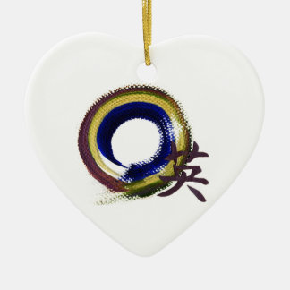 Enso - Aperature of Courage Double-Sided Heart Ceramic Christmas Ornament