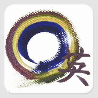 Enso - Aperature of Courage Square Stickers