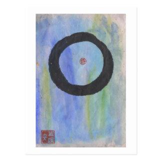 Enso azul (círculo del zen) de la postal de la tra