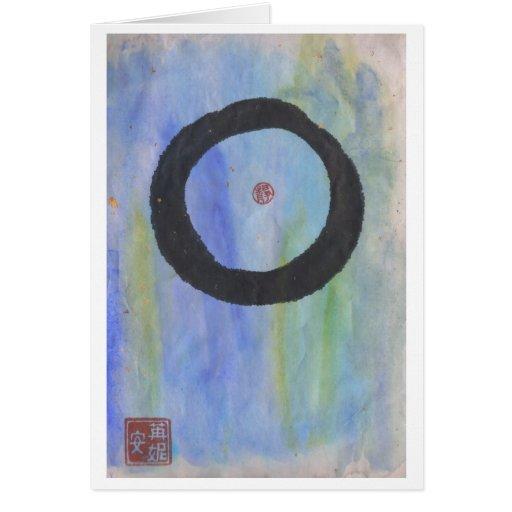 Enso azul (círculo del zen) de la tarjeta en blanc