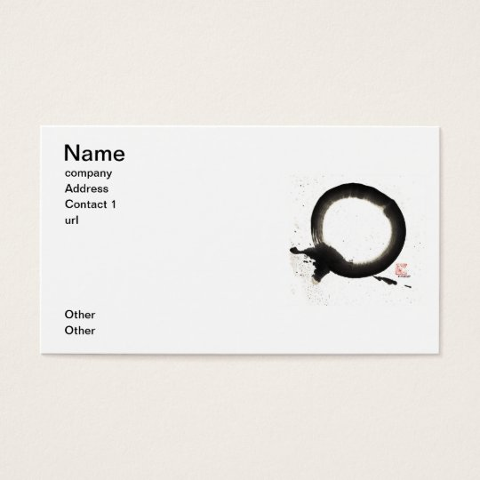 Enso, Black Sumi Ink Business Card