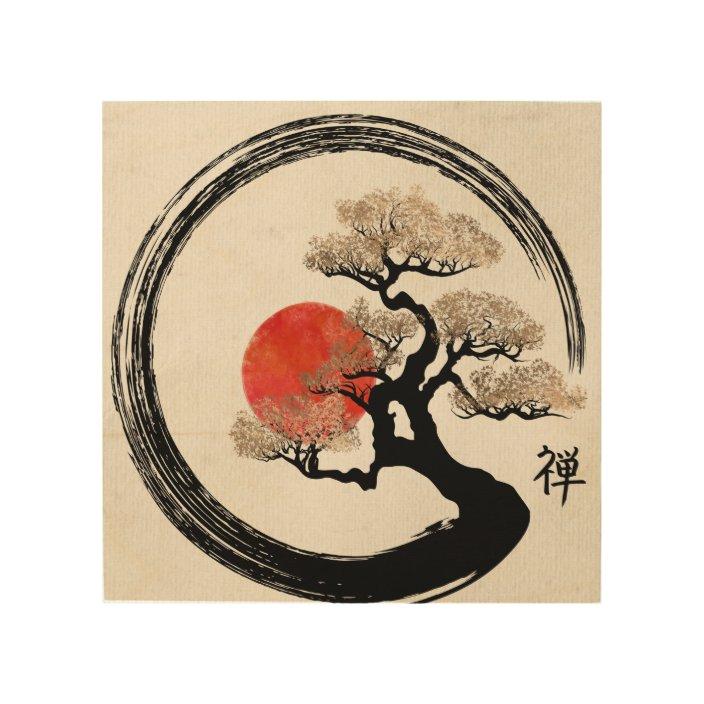 Enso Circle And Bonsai Tree On Canvas Wood Wall Art Zazzle Com