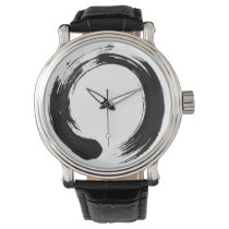 Enso Circle Custom Black Vintage Leather Watch