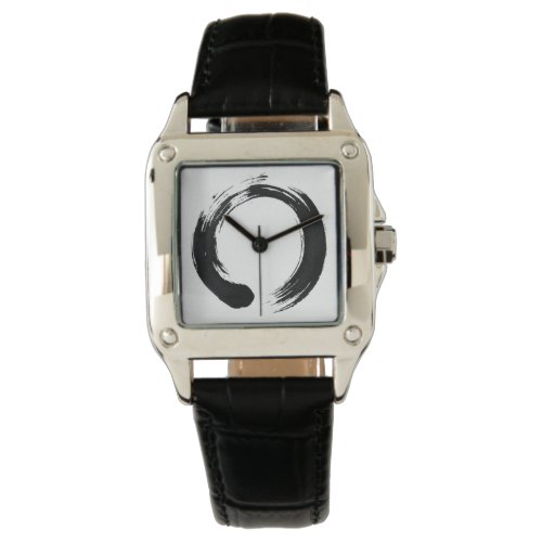Enso Circle Custom Perfect Square Black Leather Watch