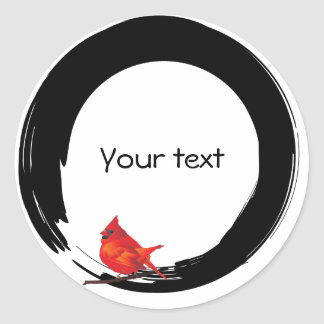 Enso Circle with Red Cardinal Stickers