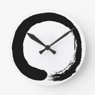 Enso Circle Zen Calligraphy Round Clock