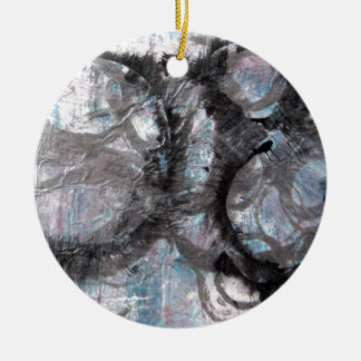 Enso Collage - mixed media Ceramic Ornament
