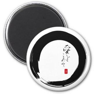 """Enso con """"con el texto del kanji del amor"""" imán redondo 5 cm"""