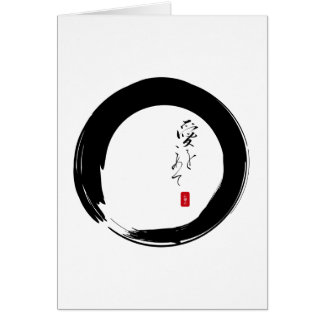"""Enso con """"con el texto del kanji del amor"""" tarjeta de felicitación"""