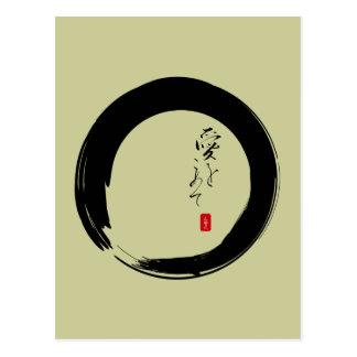 """Enso con """"con el texto del kanji del amor"""" tarjetas postales"""
