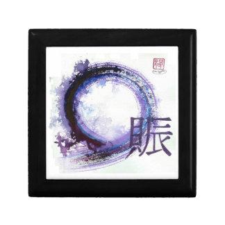 Enso con el kanji para la prosperidad joyero cuadrado pequeño