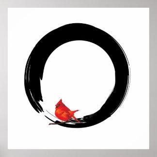 Enso con el navidad cardinal póster