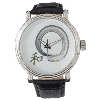 Enso de plata con el carácter de kanji para la relojes