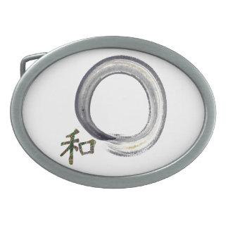 Enso de plata con el kanji - armonía hebillas cinturon