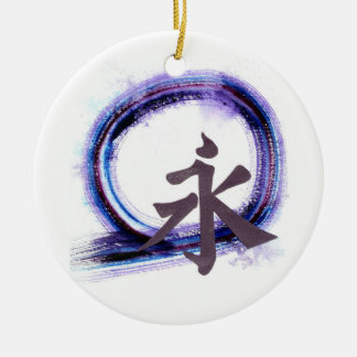 Enso - Eternity with Zen Double-Sided Ceramic Round Christmas Ornament
