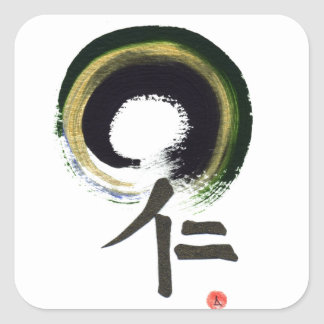 Enso - Kanji for benevolence Square Stickers