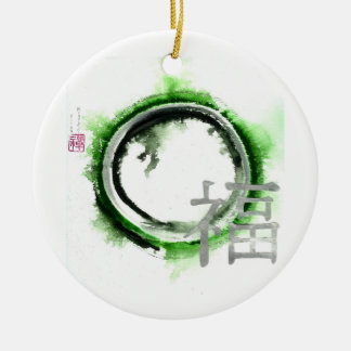 Enso Silver Blessings Double-Sided Ceramic Round Christmas Ornament
