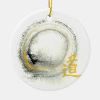 Enso - Way in Gold Ceramic Ornament