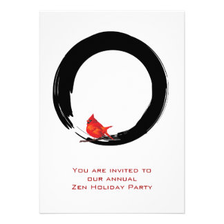 Enso with Christmas Cardinal Personalized Invitation