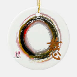 Enso with Kanji for Compassion Double-Sided Ceramic Round Christmas Ornament