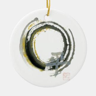 Enso with PAX, Sumi-e Ceramic Ornament